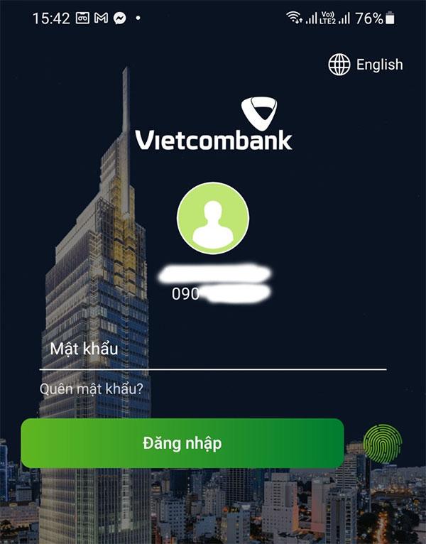 - Bước 2: Đăng nhập tài khoản ngân hàng Vietcombank