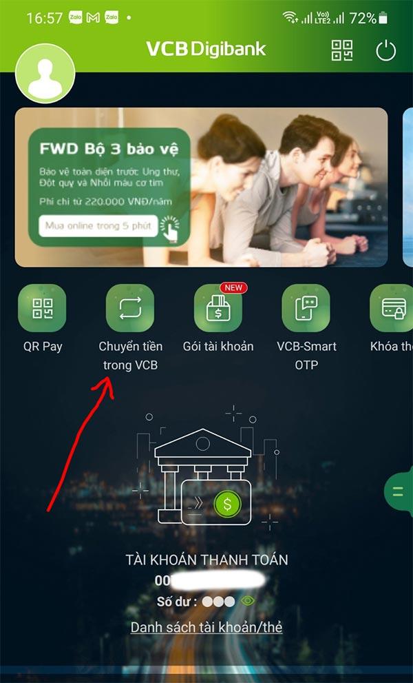 Bước 3: Nhập số tài khoản Vietcombank cần tìm tên và tra cứu